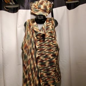 Sweaters - Beautiful olive green, brown, light yellow vest